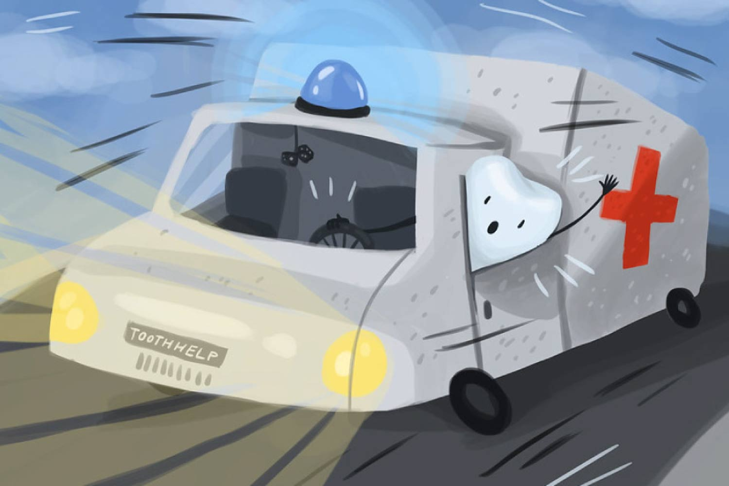 Cartoon ambulance being driven by a tooth.